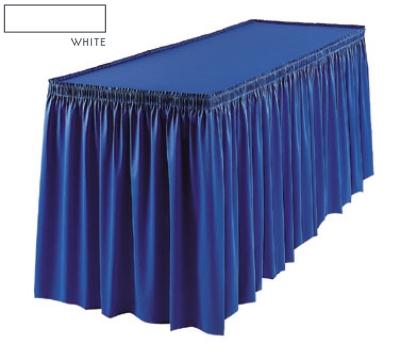 Snap Drape 1FSSAV63030 WHT 6-ft Savoy Fitted Table Cover Set w/ Shirred Skirt, White
