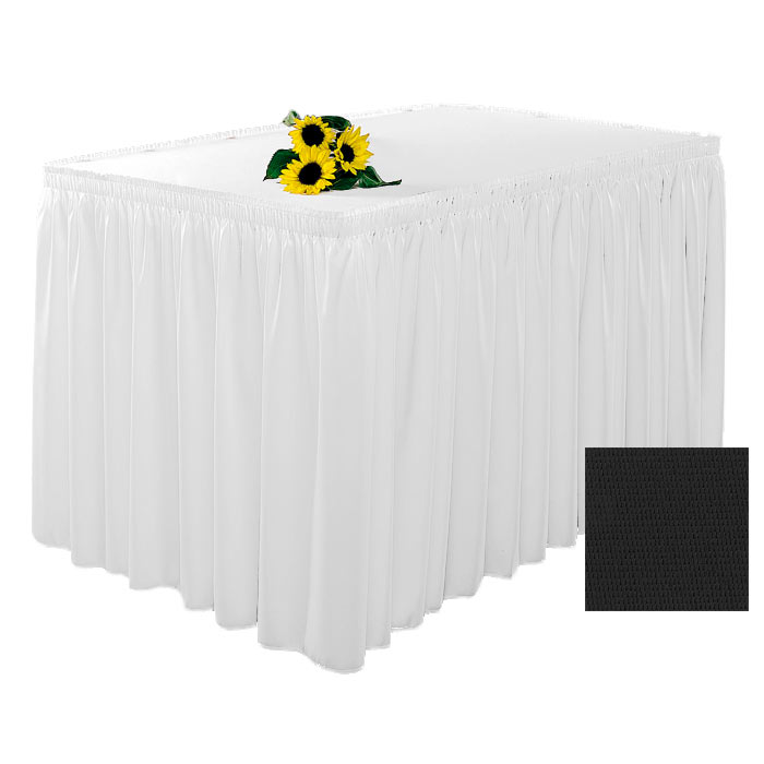 Snap Drape 1FSWYN83030 BLK 8-ft Wyndham Fitted Table Cover Set w/ Shirred Skirt, Black