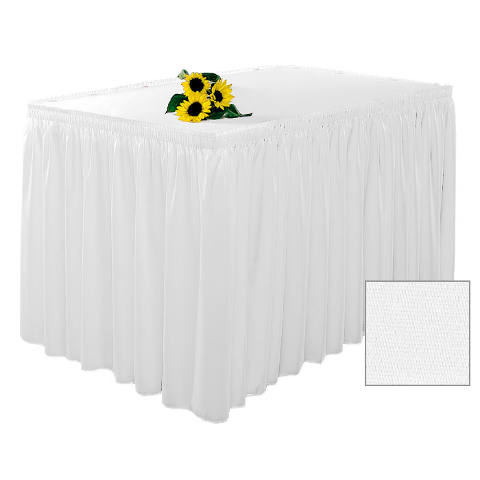 Snap Drape 1FSWYN83030 WHT 8-ft Wyndham Fitted Table Cover Set w/ Shirred Skirt, White