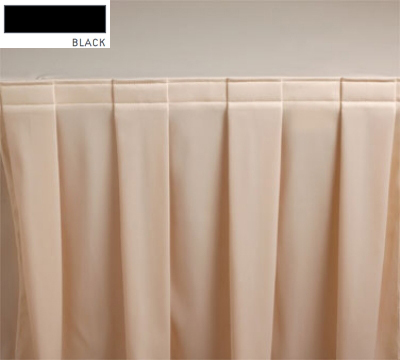 Snap Drape 3FSMAR63030 BLK 6-ft Marquis Fitted Table Cover Set w/ Boxed Pleat, Black