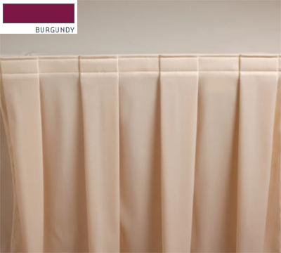 Snap Drape 3FSMEL63030 BUR 6-ft Melrose Fitted Table Cover Set w/ Boxed Pleat, Burgundy