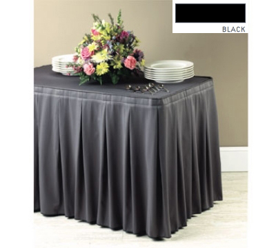 Snap Drape 5FSMAR63030 BLK 6-ft Marquis Fitted Table Cover Set, Continuous Pleat, Black