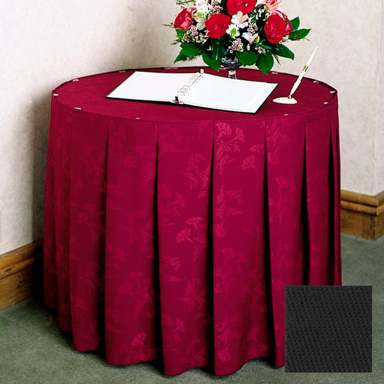 Snap Drape 5FSWYN63030 BLK 6-ft Wyndham Fitted Table Cover Set w/ Continuous Pleat, Black