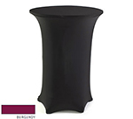 "Snap Drape CC3042 BGDY Contour Cocktail Table Cover w/ Rubber Cup On Leg, 30 x 42"", Burgundy"