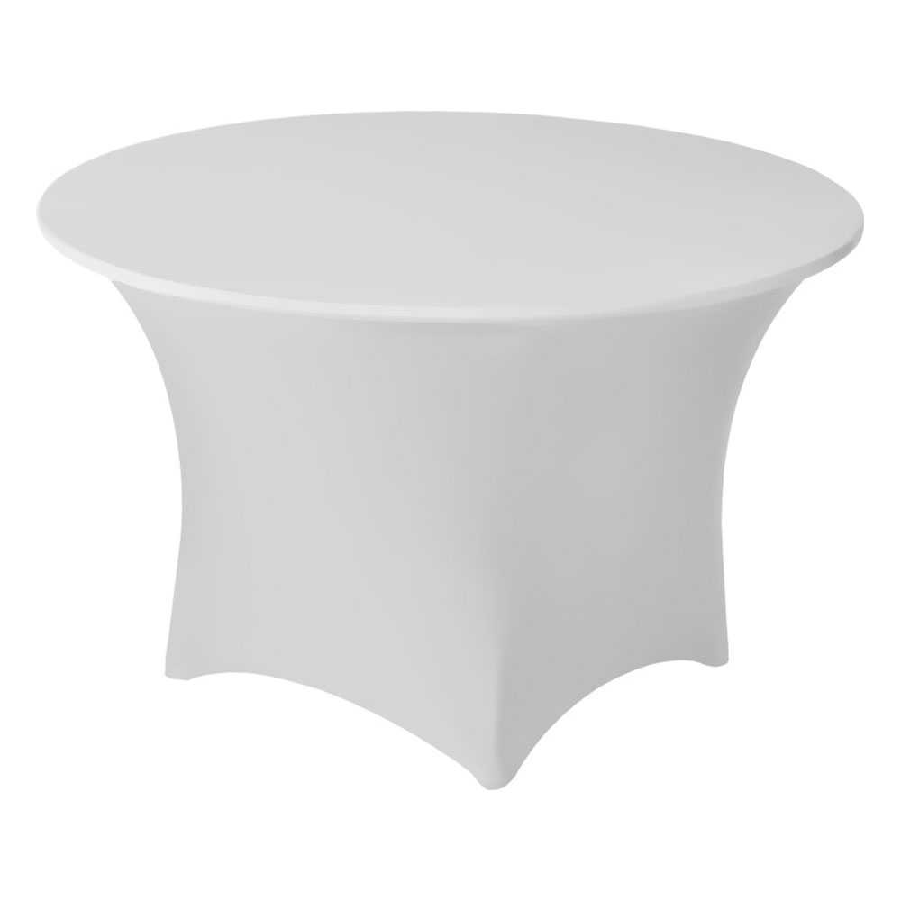 "Snap Drape CC48R WHT Contour Cocktail Table Cover Fits 48"" Round Table, White"