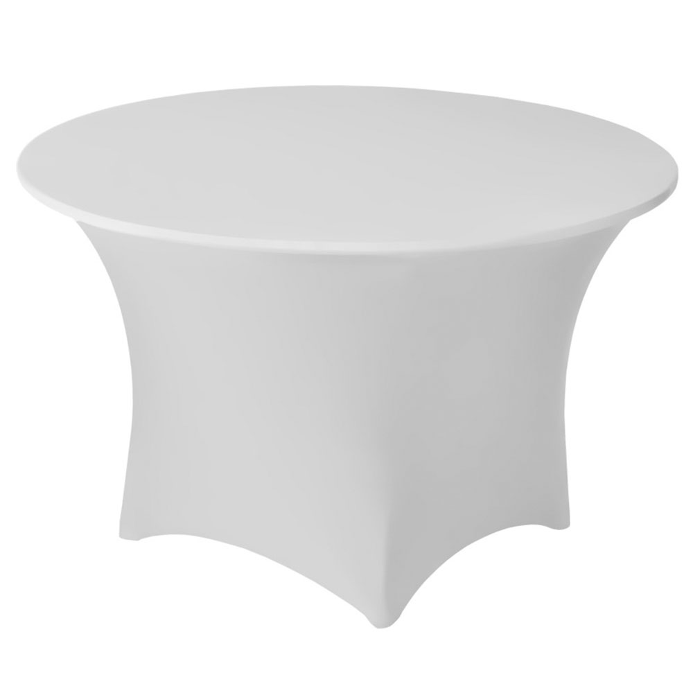 "Snap Drape CC60R WHT Contour Cocktail Table Cover Fits 60"" Round Table, White"