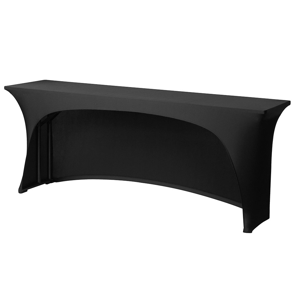 Snap Drape CC618CC BLK Conference-Cut Table Cover, Snug Fit, 6-ft x 18-in Table, Black