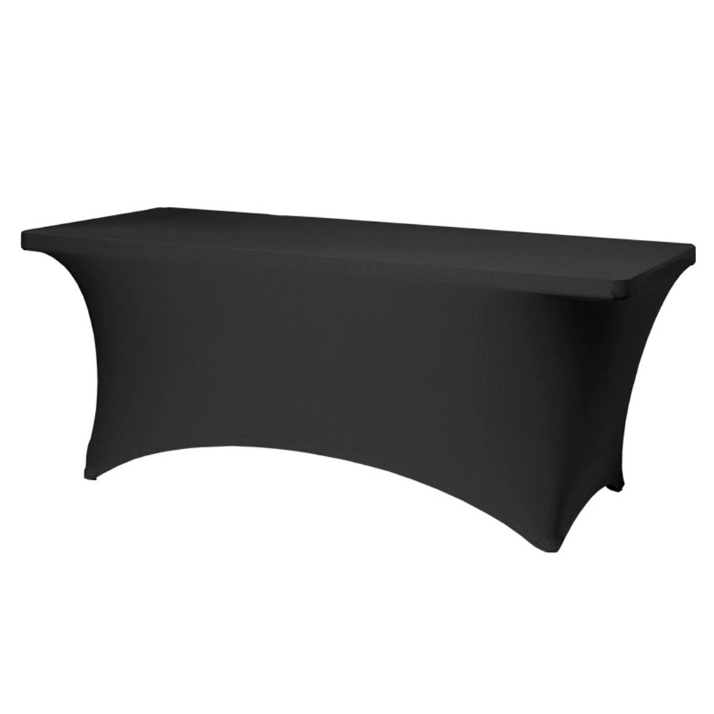 "Snap Drape CC630 BLK Contour Table Cover w/ Rubber Cup On Leg, Fits 6-ft x 30"" Table, Black"