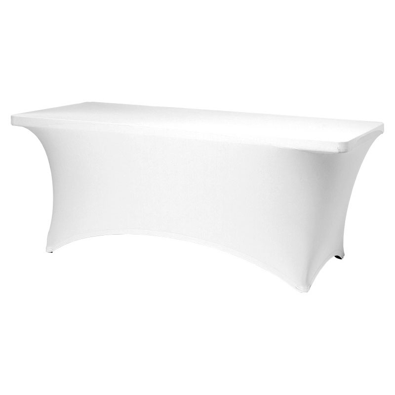 Snap Drape CC630 WHT Contour Table Cover w/ Rubber Cup On Leg, Fits 6-ft x 30-in Table, White