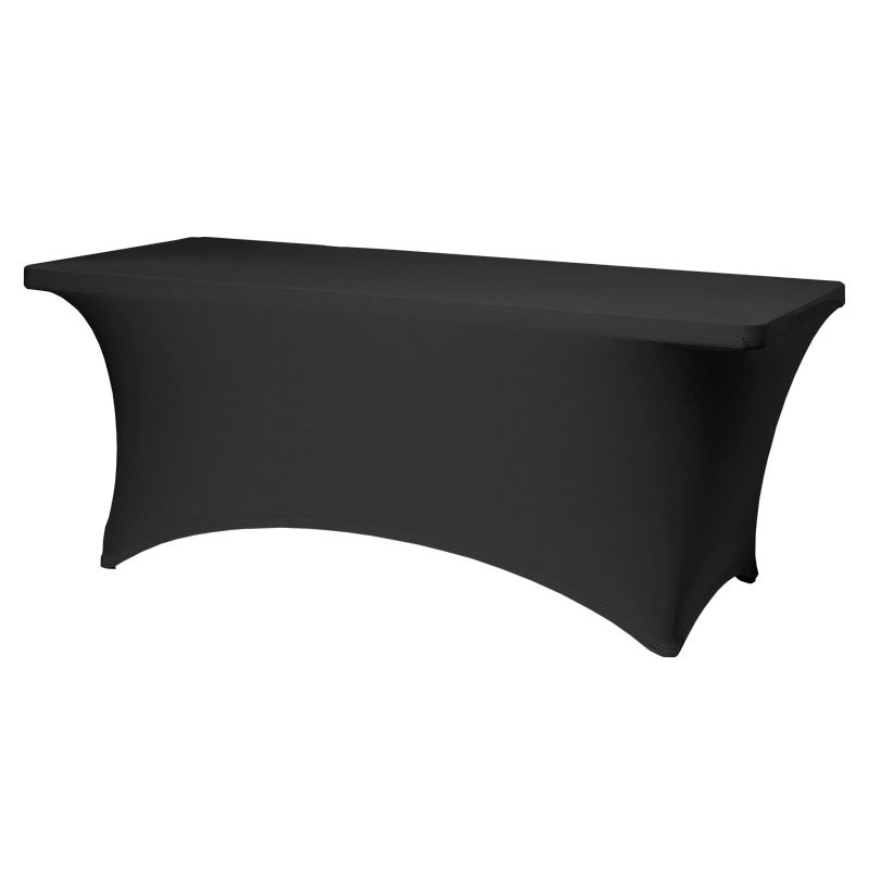 "Snap Drape CC830 BLK Contour Table Cover w/ Rubber Cup On Leg, Fits 8-ft x 30"" Table, Black"