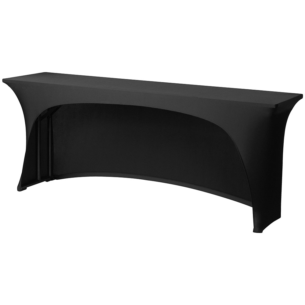 "Snap Drape CC830CC BLK Contour-Cut Table Cover, Snug Fit, 8-ft x 30"" Tables, Black"