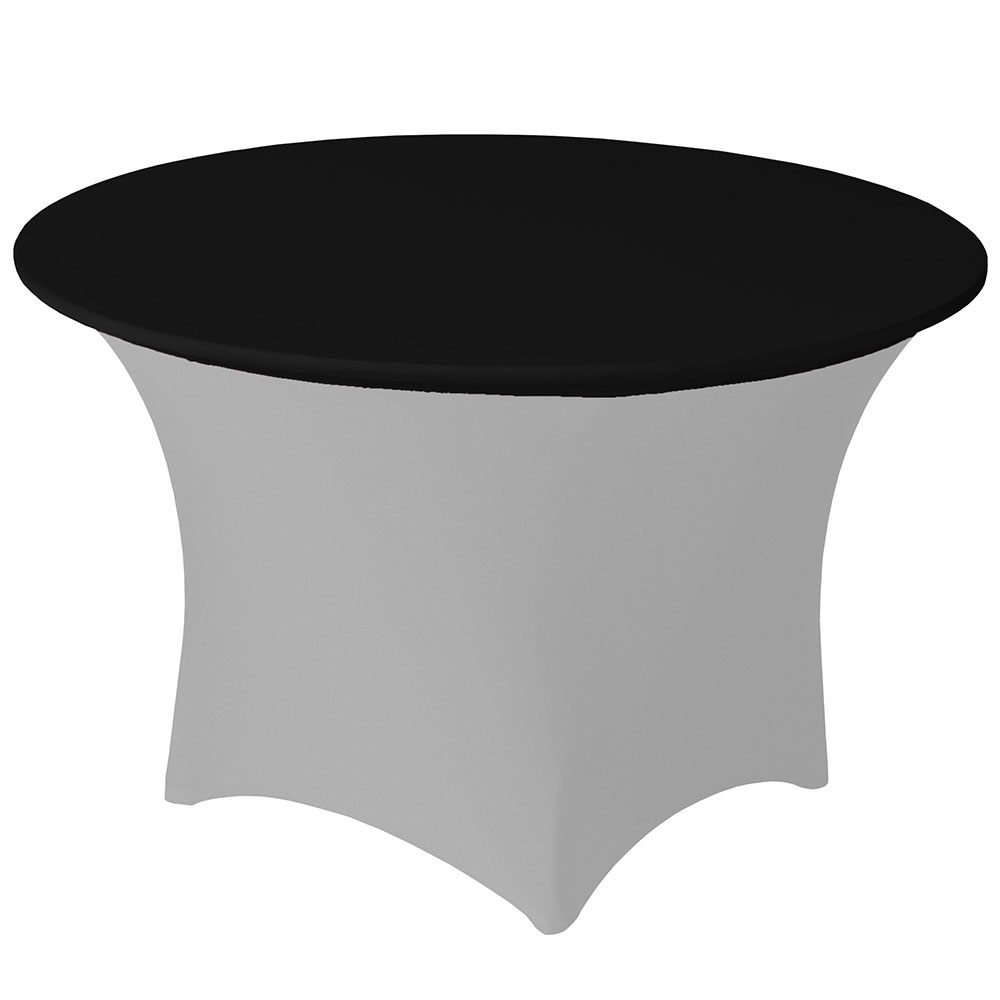 Snap Drape CCAP48R BLK Contour Table Cover Cap For 48-in Round Table, Poly/Spandex, Black
