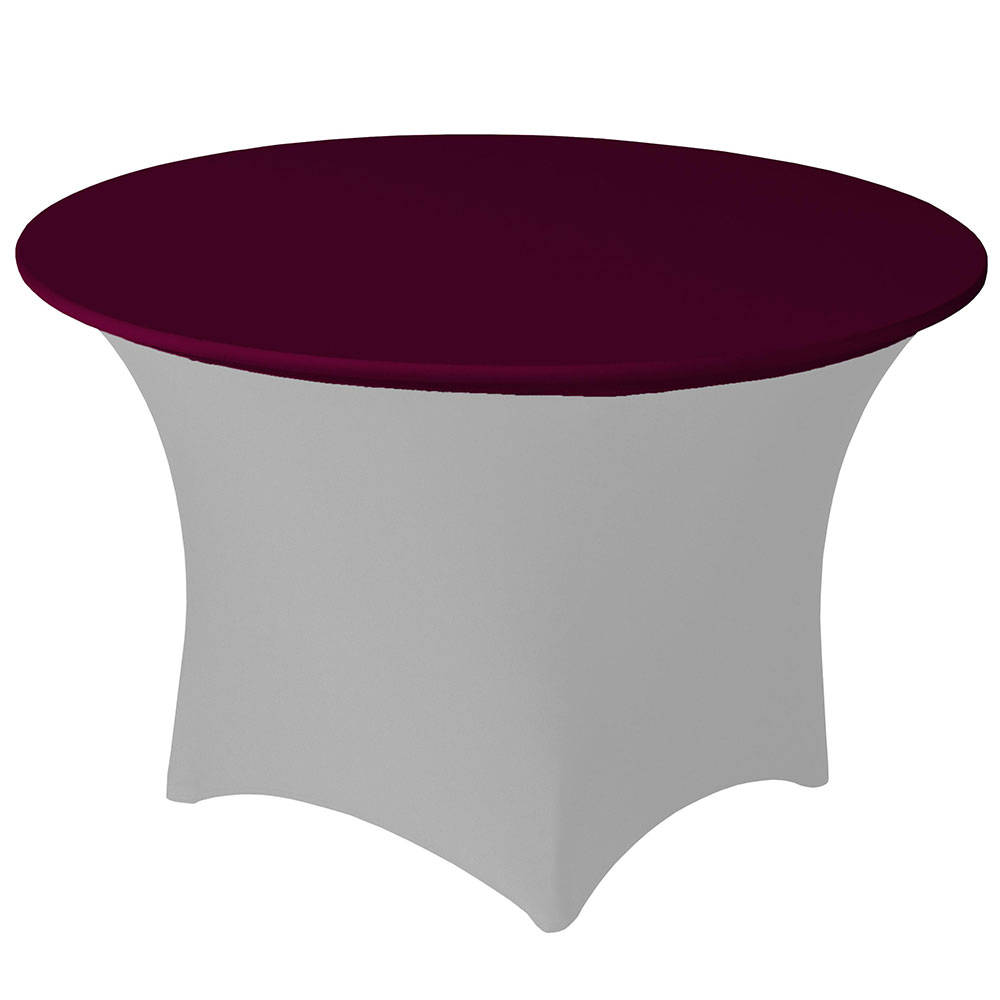 "Snap Drape CCAP60R BGDY Contour Table Cover Cap for 60"" Round Table, Poly/Spandex, Burgundy"