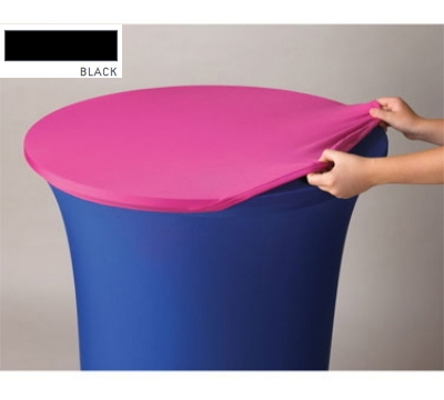 Snap Drape CCAP72R BLK Contour Table Cover Cap For 72-in Round Table, Poly/Spandex, Black
