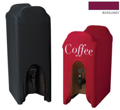 Snap Drape CCBDC10WL BGDY Contour 10-Gallon Beverage Dispenser Cover w/ Logo, Snug Fit, Burgundy