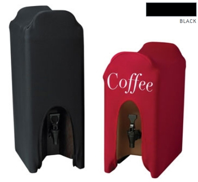 Snap Drape CCBDC10WL BLK Contour 10-Gallon Beverage Dispenser Cover w/ Logo, Snug Fit, Black