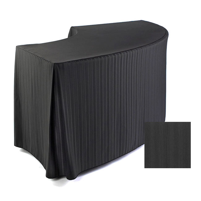 "Snap Drape FPFSMEL60SERP BLK Melrose Fitted Table Cover Set, 60"" Radius, Serpentine, Black"