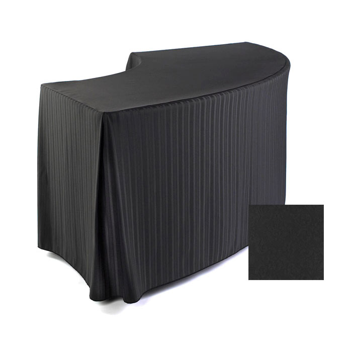 "Snap Drape FPFSSAV48SERP BLK Savoy Fitted Table Cover Set, 48"" Radius, Serpentine, Black"