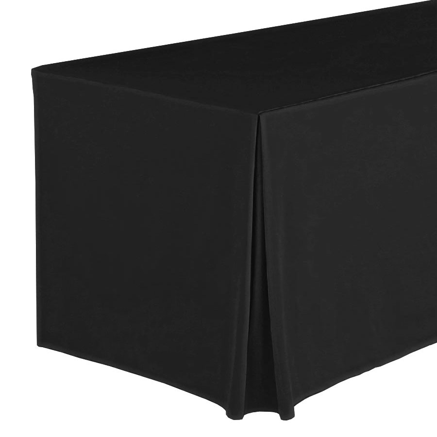 "Snap Drape FPFSWYN83030 BLK Wyndham Fitted Table Cover Set, Flat-Panel, 8-ft x 30"", Black"