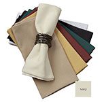 "Snap Drape NAPMKT2020HDK 20"" x 20"" Hemmed Farm Stripe Napkin - Polyester, Ivory"