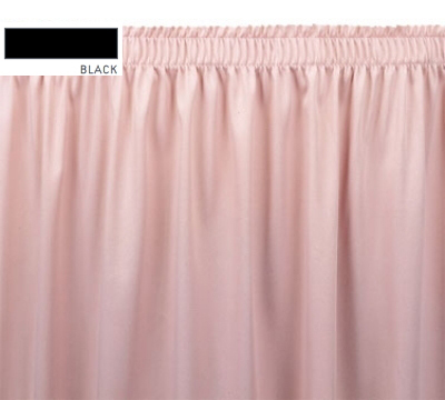 Snap Drape OMN1S17629 BLK Omni 17.5-ft Table Skirt w/ Shirred Pleat, Snap Attachment, Black