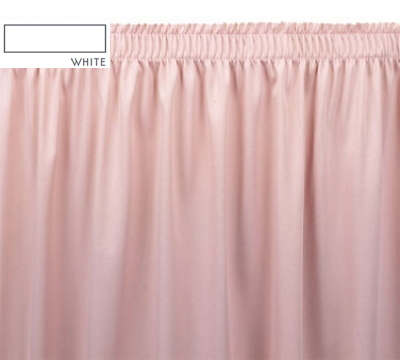 Snap Drape OMN1S21629 WHT Omni 21.5-ft Table Skirt w/ Shirred Pleat, Snap Attachment, White