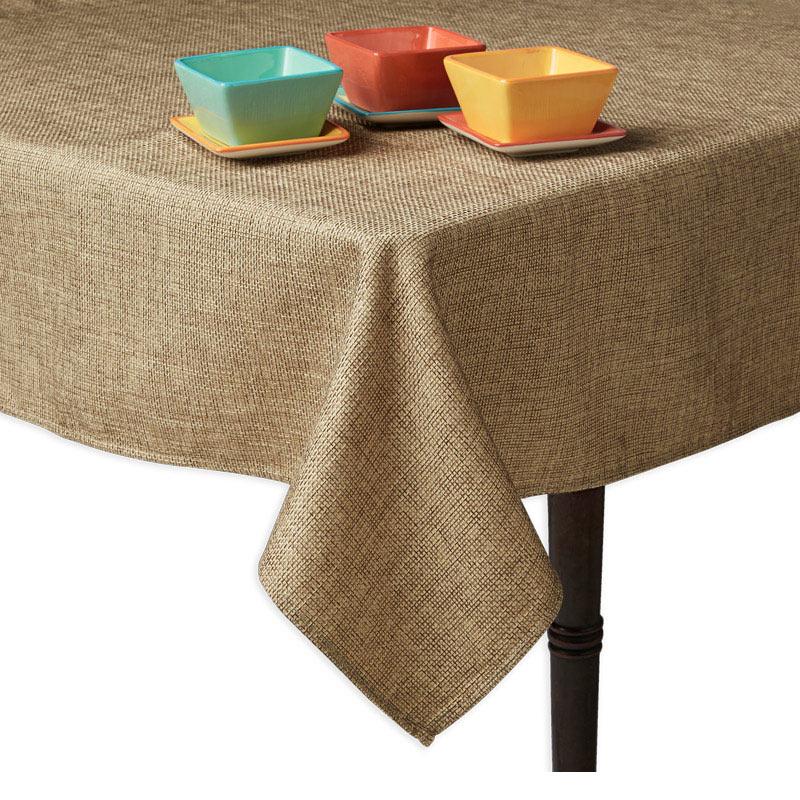 "Snap Drape TBUR90R 90"" Round Burlap Tablecloth, Macine Washable"