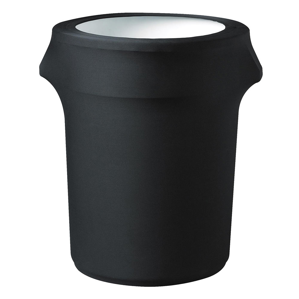 Snap Drape TCCCC55 BLK Black, Round Fitted Trash Can Cover, 55-gal