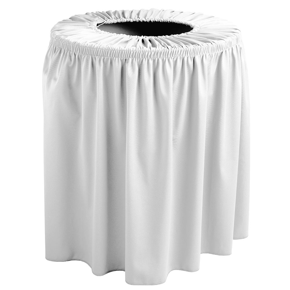 Snap Drape TCCWYN55 WHT White, Round Drape Trash Can Cover, 55-gal