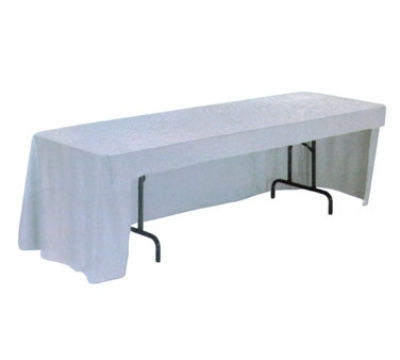"""Snap Drape TCWYN818CC WHT Wyndham Conference-Cut Throw Table Cover, 8-ft x 18"""", White"""