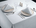 "Snap Drape TSIG132ROWH Signature 132"" Round Overlocked Tablecloth, White"