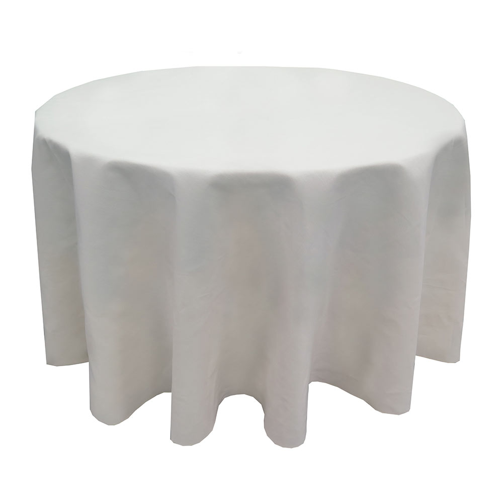 "Snap Drape TULT120ROWH Nouveau Ultraspun 120"" Round Overlocked Tablecloth, White"
