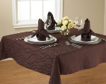 Snap Drape TWAV9090OMED IVRY Wave 90-in x 90-in Overlocked Tablecloth, Damask Pattern, Ivory