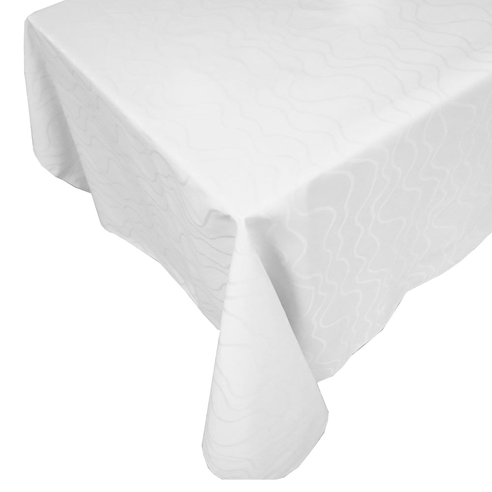 "Snap Drape TWIN52114HWH Windsor 52"" x 114"" Hemmed Tablecloth w/ Damask Pattern, White"