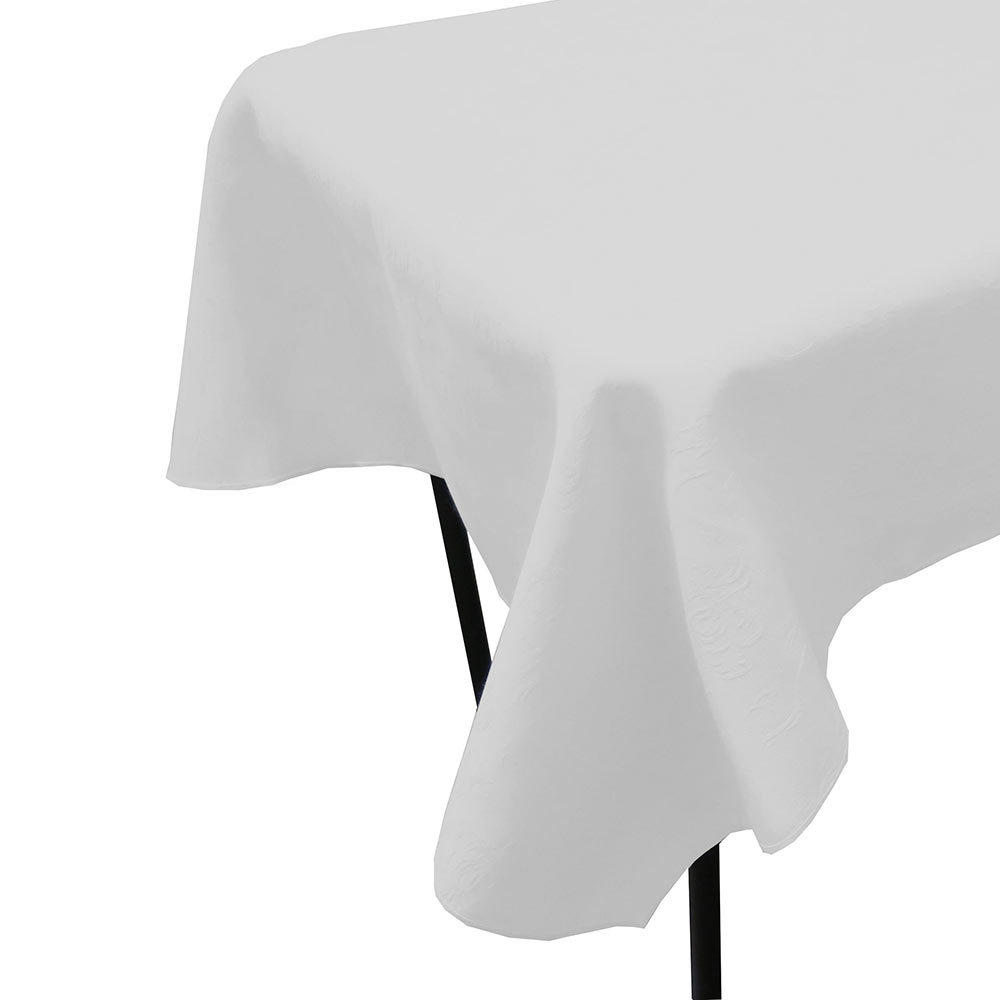 "Snap Drape TWIN9090HWH Windsor 90"" x 90"" Hemmed Tablecloth w/ Damask Pattern, White"