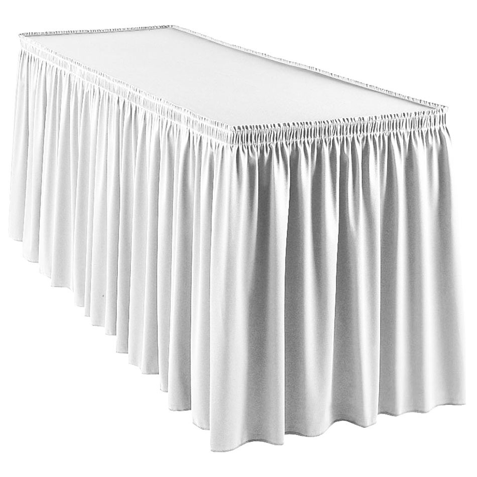 Snap Drape WYN1S1329 WHT Wyndham 13-ft Table Skirt, Shirred Pleat, Snap Attachment, White
