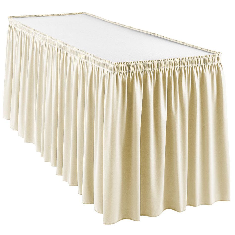 Snap Drape WYN1V1329 CRM Wyndham 13-ft Table Skirt, Shirred Pleat, Velcro Attachment, Cream