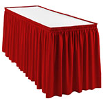 Snap Drape WYN1V1329 RED Wyndham 13-ft Table Skirt, Shirred Pleat, Velcro Attachment, Red