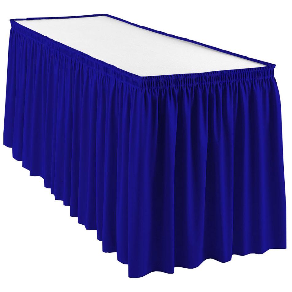 Snap Drape WYN1V21629 ROYBLU Wyndham 21.5-ft Table Skirt, Shirred Pleat, Velcro Attachment, Royal Blue