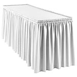 Snap Drape WYN1V21629 WHT Wyndham 21.5-ft Table Skirt, Shirred Pleat, Velcro Attachment, White