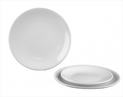 Mayfair 018 12-in Round Coupe Porcelain Plate, White
