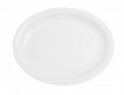 Mayfair 025 Oval Narrow Rim Porcelain Platter, 11 x 9-in, White
