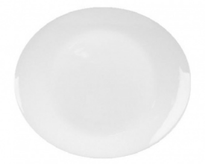 Mayfair 038 Oval Flare Steak Porcelain Platter, 12 x 10-in, White