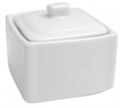 Mayfair 086 Square Porcelain Sugar Pot w/ Lid, 3.25 x 3.25 x 3-in, White