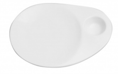 Mayfair 413 Porcelain Serving Dish w/ 2-oz Well, White