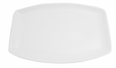Mayfair 418S Small Porcelain Rectangular Zuri Serving Tray, 14 x 8.25-in, White