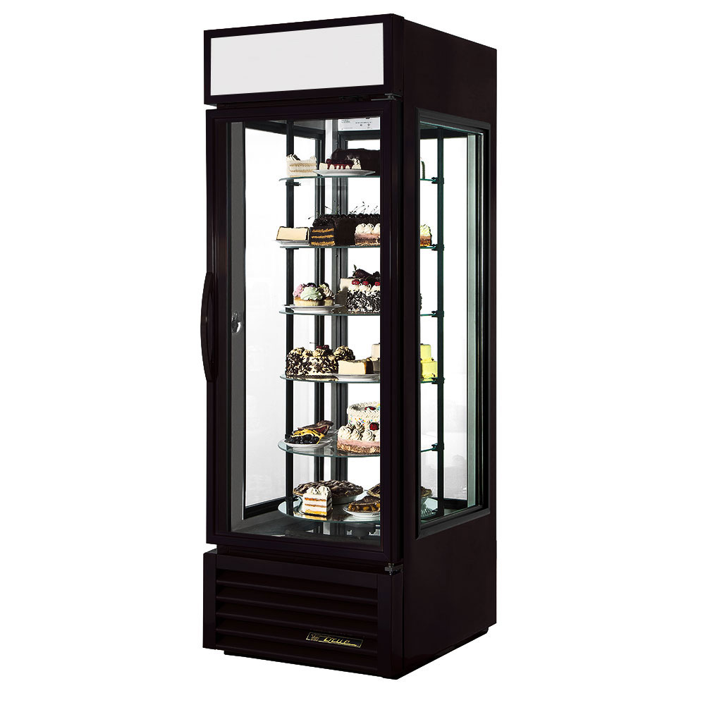"True G4SM-23-RGS-LD 28"" Self Service Bakery Case w/ Straight Glass - (6) Levels, Black, 115v"