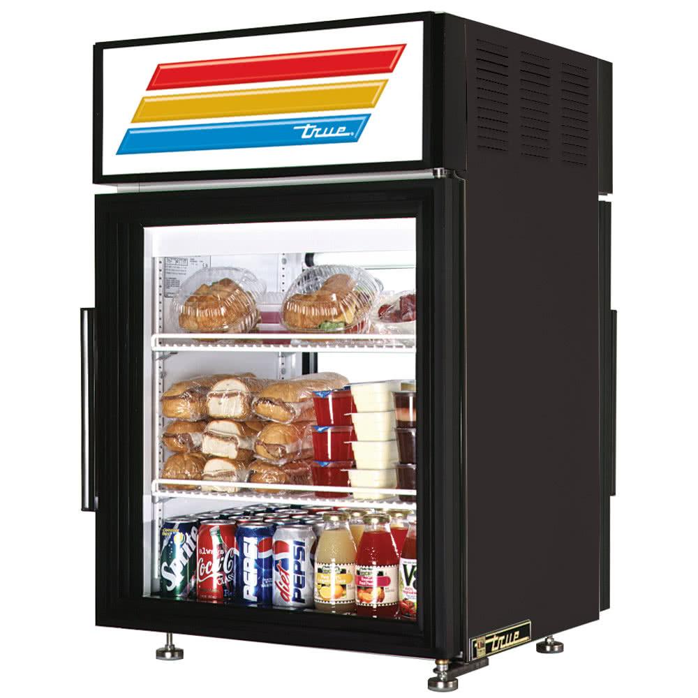"True GDM-05PT-LD 24"" Countertop Refrigerator w/ Pass-Thru Access - Swing Doors, Black, 115v"