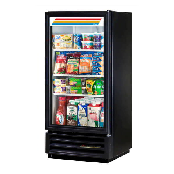 "True GDM-10-LD 25"" One-Section Refrigerated Display w/ Swing Door, Bottom Mount Compressor, Black, 115v"