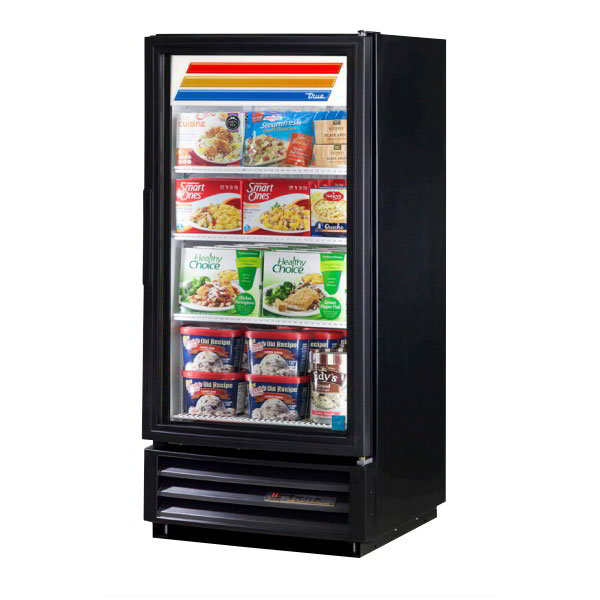 "True GDM-10F-LD BK 24"" One-Section Display Freezer w/ Swinging Door - Bottom Mount Compressor, Black, 115v"